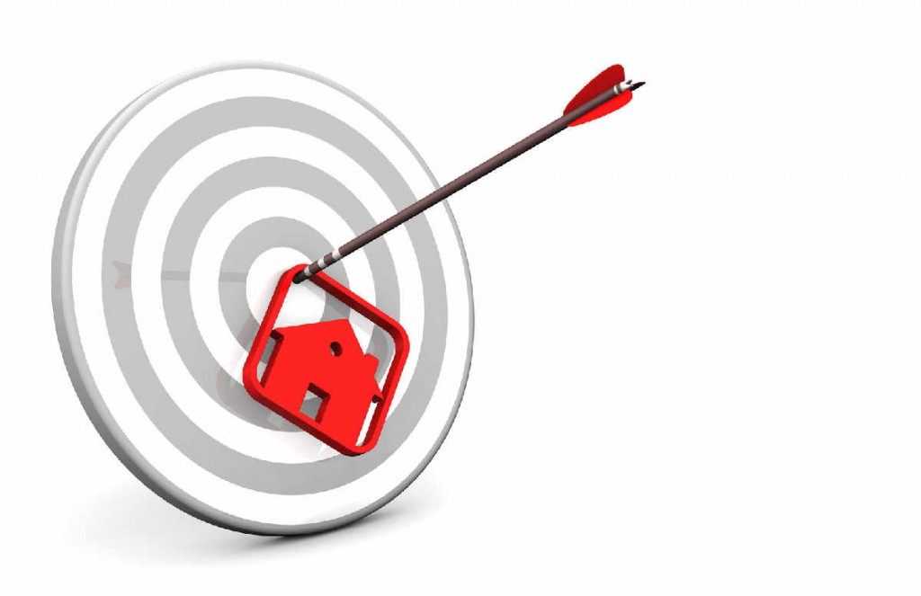 A target with house and arrow on the white background.